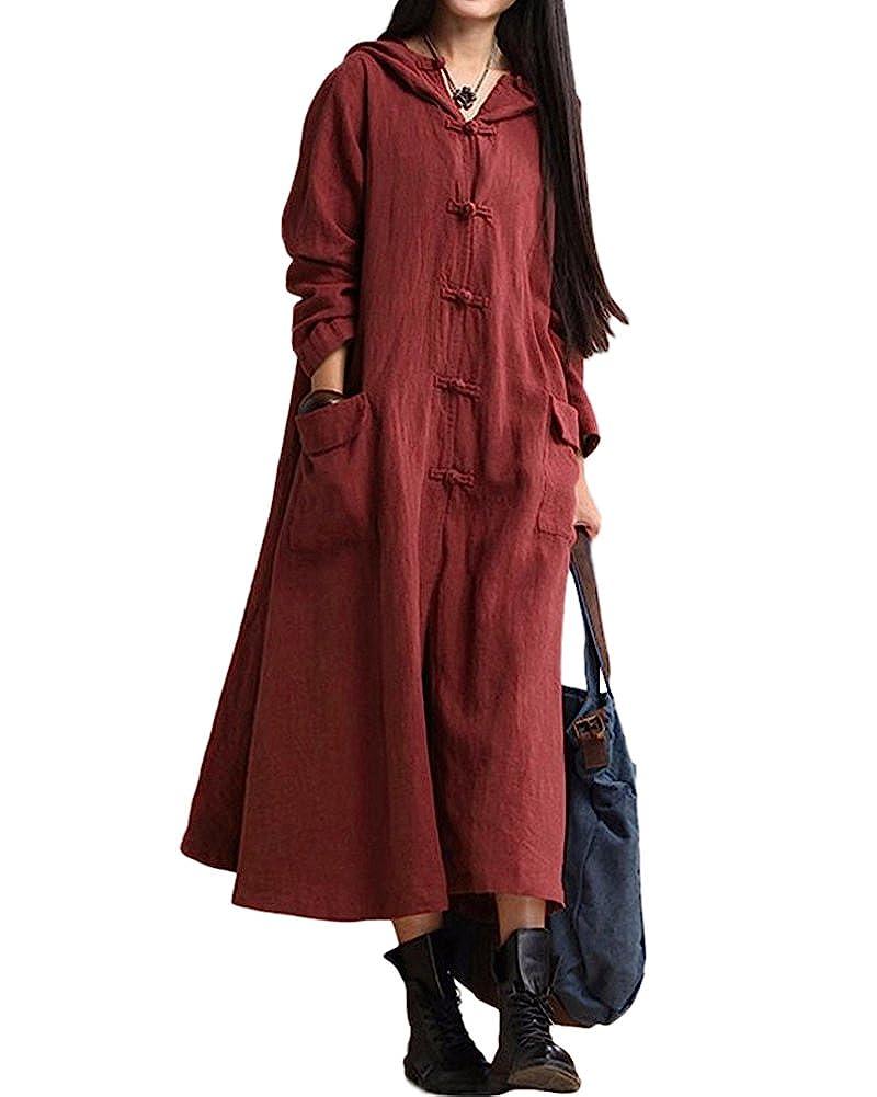 TALLA L. Romacci Primavera Otoño Mujer Vintage Vestido con Capucha de Manga Larga Casual Suelta Algodón Sólido Vestido de Borgoña Azul Oscuro Negro Borgoña