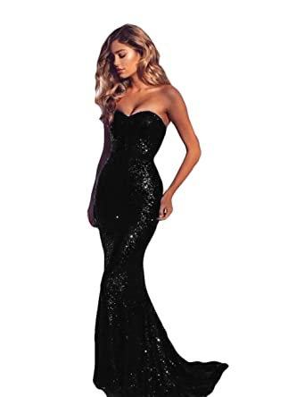 The Peachess Strapless Mermaid Prom Evening Gown Sequins Bridesmaid Dresses at Amazon Womens Clothing store:
