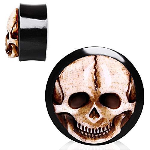 Covet Jewelry Organic Horn Saddle Plug with Bone Skull Inlay (00GA)