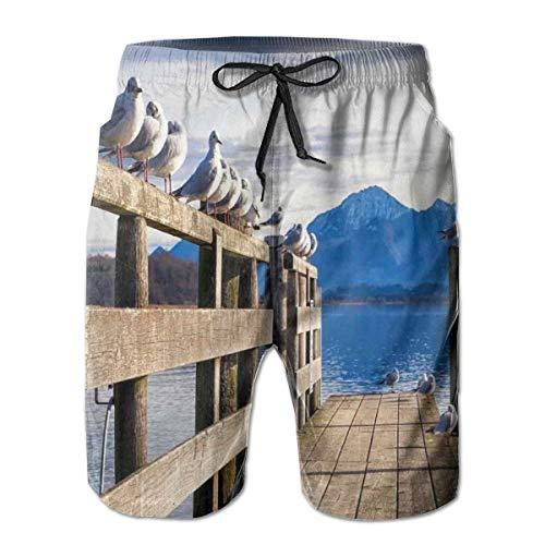 Men Swim Trunks Beach Shorts,Seagulls On Old Wooden Jetty Lakeside Hills in Bavaria Landscape Picture XXL (Shops Sofa Lakeside)