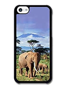 AMAF ? Accessories Elephants With Kilimanjaro in the Background Africa case for iPhone 5C