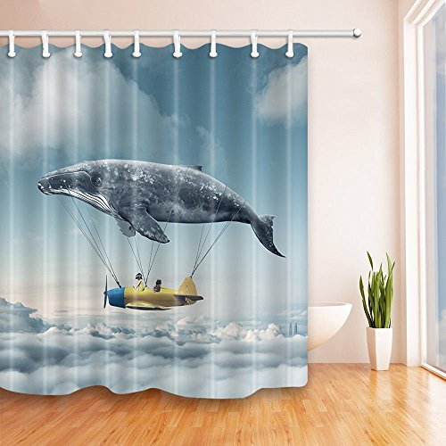 Chic SZDR New Whale Airplane Decorated Shower Curtain The Children Are Flying In Sky