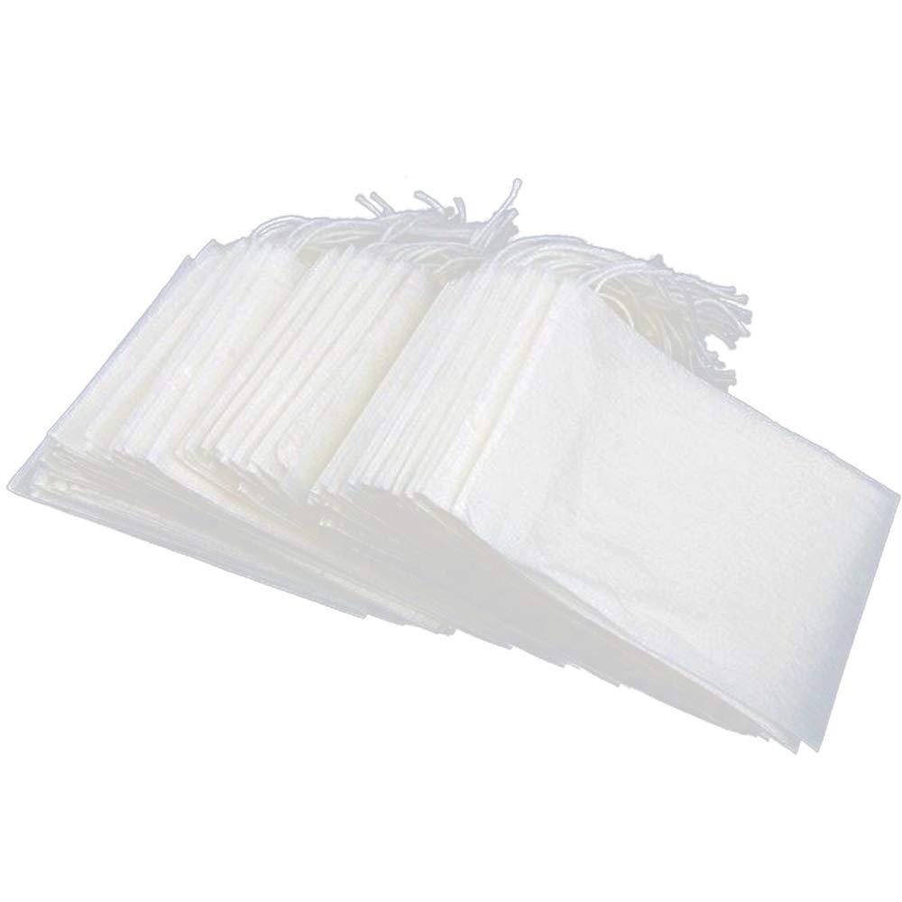 Limeo Sacchetti di t/è Filtro Monouso Filtro per t/è Monouso Bustine di Carta Filtro Bustine di t/è Vuote Carta da Filtro per Bustine di t/è con Clip di t/è e Cucchiaino 5.5 * 7cm 100 Pezzi