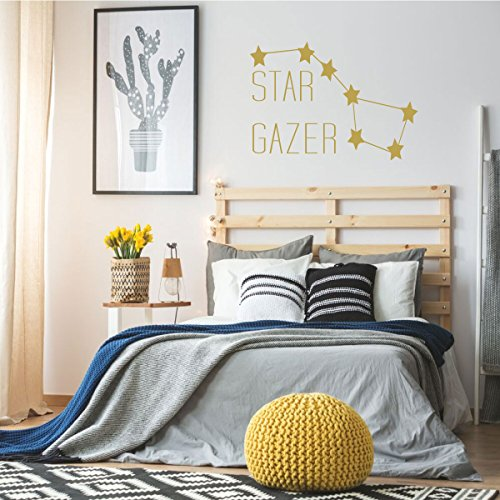 Big Dipper Vinyl Wall Decal for Kids Rooms or Baby Nurseries - Star Gazer Lettering Design for Boy's or Girl's Bedroom or Playroom -