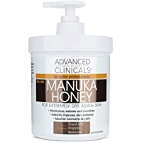 Advanced Clinicals Manuka Honey Cream for Extremely Dry, Aging Skin For Face, Neck, Hands, and Body. Spa Size 16oz (16oz…