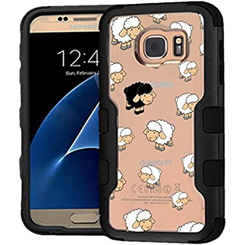 Galaxy S7 Case Black Sheep, Extra Shock-Absorb Clear back panel + Engineered TPU bumper 3 layer protection for Samsung Galaxy S7 (New 2016) Black Cover (Black Sales