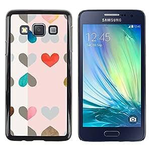 Paccase / SLIM PC / Aliminium Casa Carcasa Funda Case Cover para - Hearts Pattern Pink Red Drawing Art - Samsung Galaxy A3 SM-A300