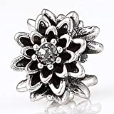 Choruslove Edelweiss Flower Black Diamond Crystal Charm 925 Antique Sterling Silver Bead for European Bracelet