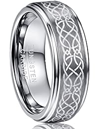 Men's 8mm Laser Celtic Knot Brushed Tungsten Carbide Wedding Band Rings Polished Step Edge Size 7-12