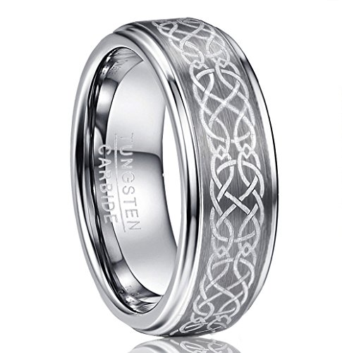 Vakki Men's Women's Matte Finish Brushed Tungsten Rings Wedding Bands Laser Etched Celtic Knot Design Size 8 -