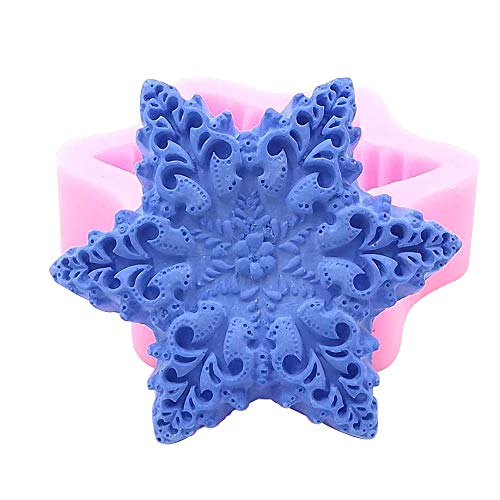 Candle Great Cake Decoration - Great Mold Snowflake Silicone Mold for Homemade Soap,Crafts, Candle, Chocolate, Muffins,Cake Decoration, Ice