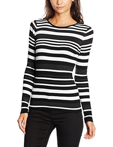 PIECES Pcadel Ls Knit Top Clw, Suéter para Mujer Multicolor (Bright White Stripes:BLACK-DARK GREY MELANGE)