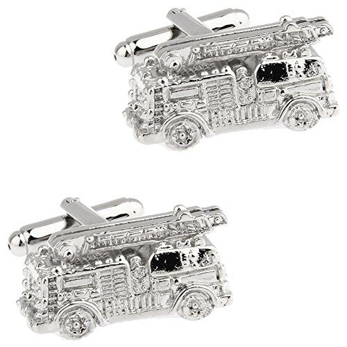 CIFIDET Gemelos Mancuernas de plata del camión de la lucha contra el fuego joyería de la camisa de los hombres de la moda...