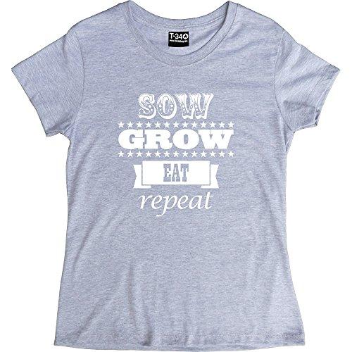 Gift Republic, cm de diámetro, Eat, repetición de T-camiseta de manga corta Ash Women's T-Shirt