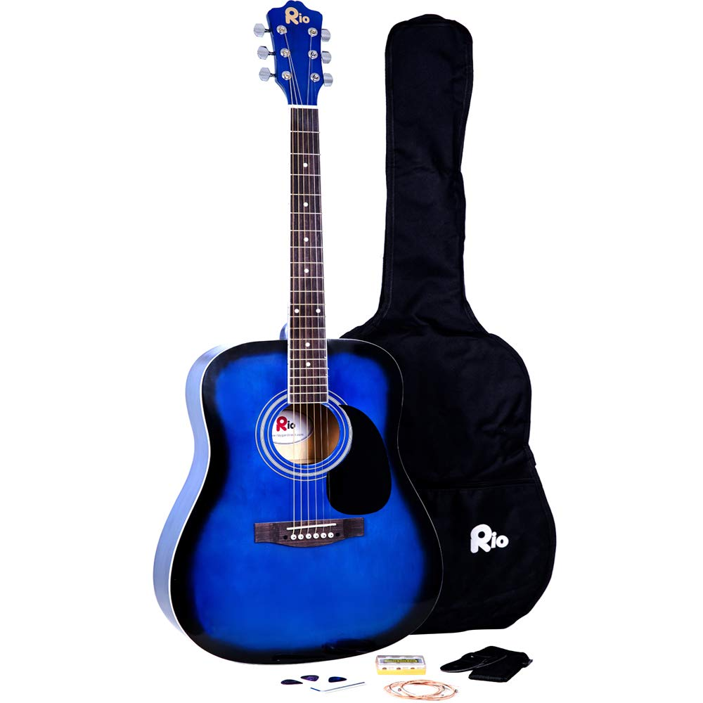 RayGar Black 41'' 4/4 Full Size Acoustic Guitar Package Pack Outfit Beginner Dreadnought Steel String - NEW (Black) RayGar®