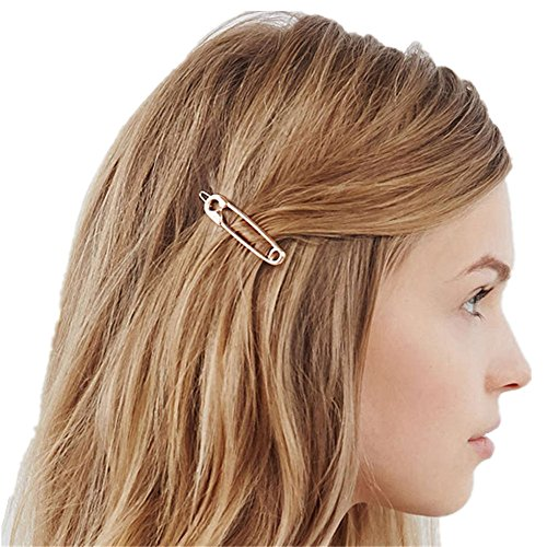 QTMY 4 PCS Metal Pin Shape Hairpin Hair Clips Hair Accessories (Tone Pin Silver Leaf Brooch)