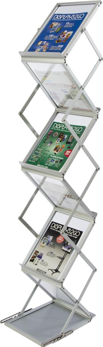Displays2go 58-Inch Portable Folding Magazine for A4 and 8.5x11 Documents - Silver/Aluminum (ZZLITG7B)
