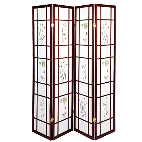Magshion Oriental Room Divider Hardwood Shoji Screen (4 Panel Small Flowered-cherry)