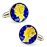 Hand Painted Blue Liberty Dime Cufflinks Novelty 1 x 1in