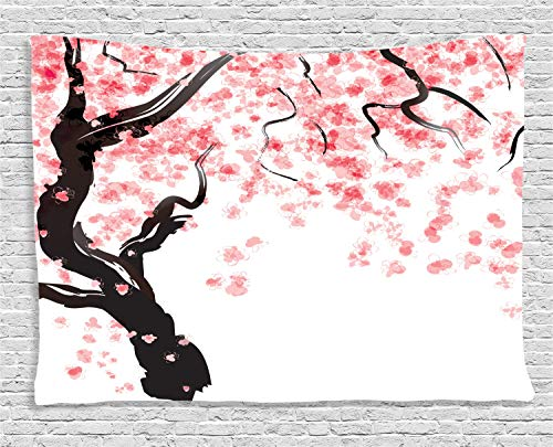 Ambesonne Floral Tapestry, Dogwood Tree Blossom in Watercolor Painting Effect Spring Season Theme Pinkish Tones, Wall Hanging for Bedroom Living Room Dorm, 80 W X 60 L Inches, Black ()