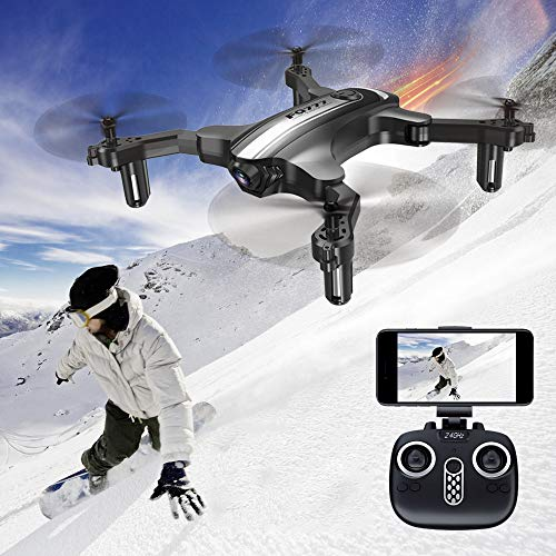 Aerial Folding Drone with HD Camera WiFi RC Quadcopter with Headless Mode, Altitude Hold, One Key Take Off & Landing, 2…