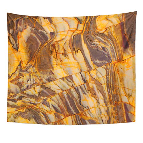 Emvency Tapestry Wall Hanging Brown Abstract Stone Marble Colorful Agate Architecture Banded Bands Bathroom 50