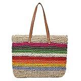 Wellye Straw Bag Women's Rainbow Tote Bag Ladies Large Capacity Vintage Straw Beach Woven Colorful Tote Wheat Handbags Shoulder Bag Dependable