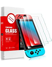SMARTDEVIL 2 Pack Screen Protector Foils for Nintendo switch Protective Tempered Glass Film,Anti-Blue Light,9H Hardness Support Shockproof,Anti-Scratch