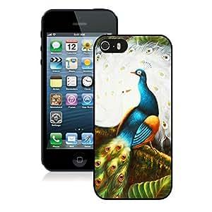 Cute Iphone 5s Black TPU Case Beautiful Peacock Iphone 5 Durable Silicone Skin Cover