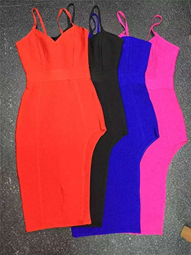 Bandage Women's Whoinshop Rayon Party Bustier Strappy Split Rose Dress dYYxXr