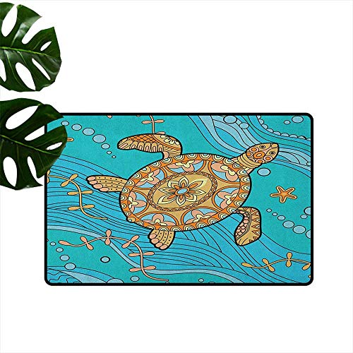 Anzhutwelve Turtle,American Floor mats Doodle of Sea Turtle on Water Surface Artistic Maritime Inspirations Pattern Artwork 16