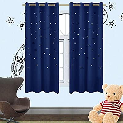 Romantic Starry Sky Creative Blackout Window Curtains for Kids Room/girls room/boys room Space Inspired Night Sky Twinkle Star Kid's Room Draperies by Alice Brown W52 x L63-Inch 1 Panel