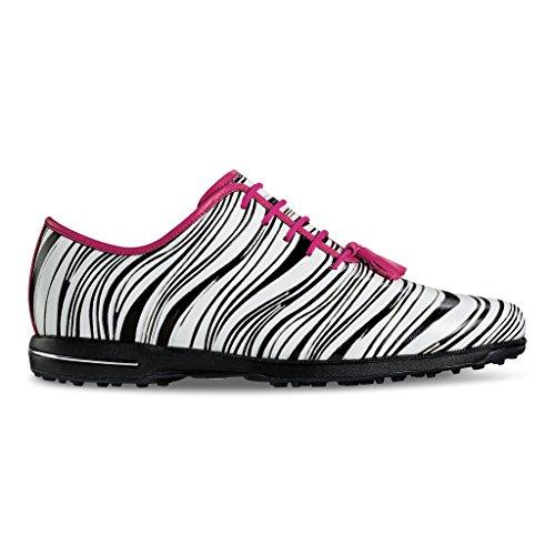 FootJoy Tailored Spikeless Golf Shoes 2016 Women CLOSEOUT Zebra/Fuschia Medium 7 by FootJoy