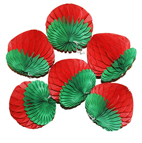 LG-Free 6pcs 8 inch Art Honeycomb Strawberry Balls Tissue Paper Strawberry Decorations Paper Flower Balls Hanging Wall Decoration Party Wedding Birthday Baby Shower Home Decora (8'' Strawberry)