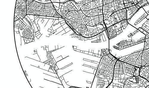 Cartel Rotterdam Países Bajos Minimalista Mapa - City Map ...