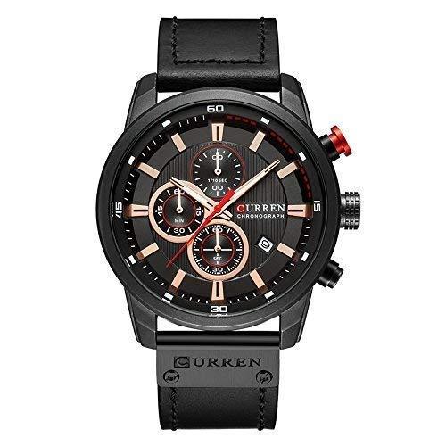 READ Curren Reloj Impermeable para Hombres, 3 Barras, Impermeable, Banda de Cuarzo, Calendario de PU, 3Bar, Calendario Impermeable, Reloj Completo ...
