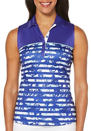 PGA TOUR Womens Sleeveless English Floral Print Polo Shirt Medium English Flowers Blue English Floral Print