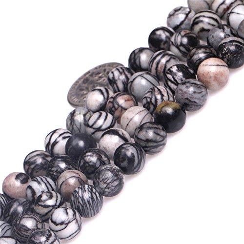 JOE FOREMAN 8mm Picasso Jasper Semi Precious Stone Round Black Web Webbed Loose Beads for Jewelry Making DIY Handmade Craft Supplies - Jasper Pendant Picasso