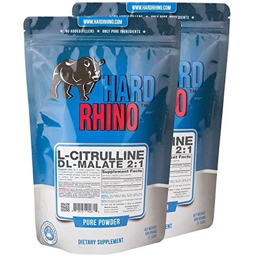 Hard Rhino L-Citrulline DL-Malate 2:1 Powder, 1 Kilogram (2.2 Lbs), Unflavored, Lab-Tested, Scoop Included