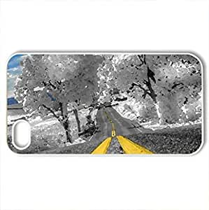 Winter Road - Case Cover for iPhone 4 and 4s (Winter Series, Watercolor style, White)