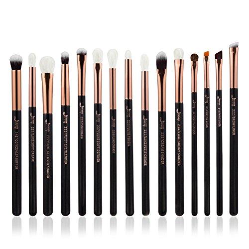 Hair Shader Brush (Jessup 15Pcs Professional Makeup Brushes Set Make up Brush Tools kit Eye Liner Shader Wood Handle Natural-synthetic Hair Brushes Pearl Black/Rose Gold T157)