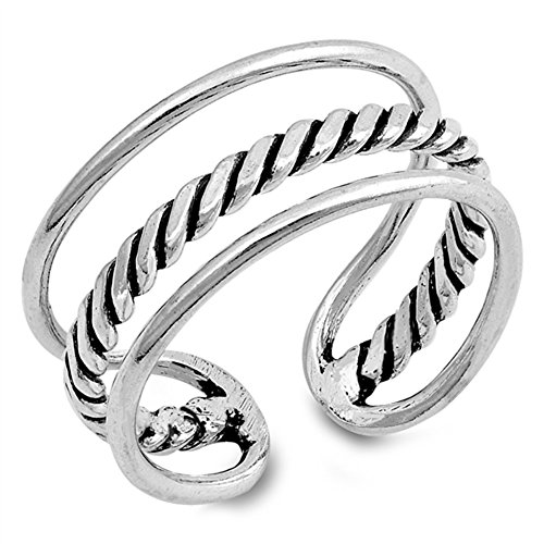 Bali Band Ring (Open Bali Rope Design Triple Ring New .925 Sterling Silver Band Size 7)