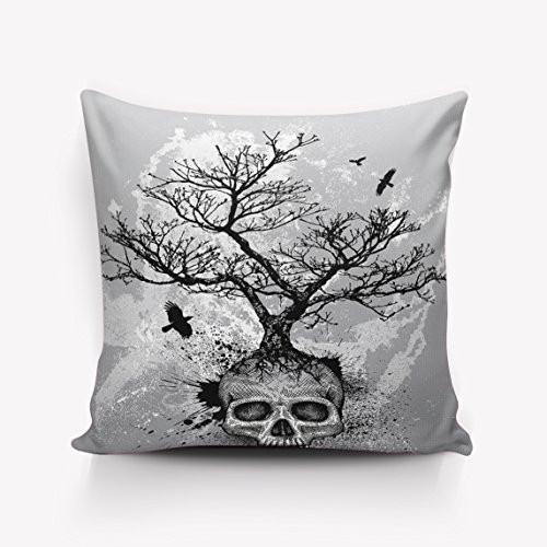 Skull Case Crystal Black (Crystal Emotion Skull Tree Black Eagle pillow Case Cushion Cover Home Office Decorative Square 24x24inch)