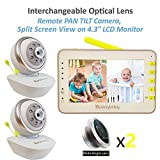 Video Baby Monitor 2 Cameras, Split Screen by Moonybaby, PAN TILT Camera, Wide-Angle Lens Included, 4.3' Large Monitor, Night Vision, Temperature, Two Way Talk Back, Long Range