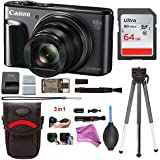Canon PowerShot SX720 HS Digital Camera (Black) with Battery + 64GB Card + DigitalAndMore Free Deluxe Accessory Kit Bundle