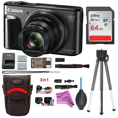 Canon PowerShot SX720 HS Digital Camera (Black) with Battery + 64GB Card + DigitalAndMore Free Deluxe Accessory Kit Bundle -  1070C001