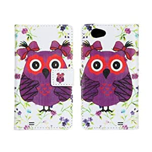 MINI Owl Design Wallet PU Leather Stand Case Cover with Credit ID Card Holder for Sony Xperia Z1 Compact D5503 Z1 mini (Style 2)
