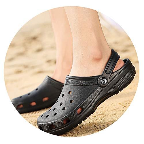 2019 Men Sandals Summer Slippers Shoes Croc Fashion Beach Sandals,Black,9.5