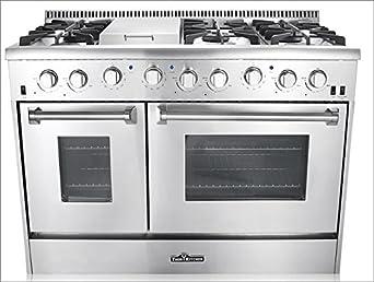 Thor Kitchen 3-Piece Kitchen Package with HRG4808U 48 6 Burner Stainless Steel Gas Range, HRH4806U 48 Under Cabinet Range Hood In Stainless Steel and HDW2401SS 24 Dishwasher in Stainless Steel