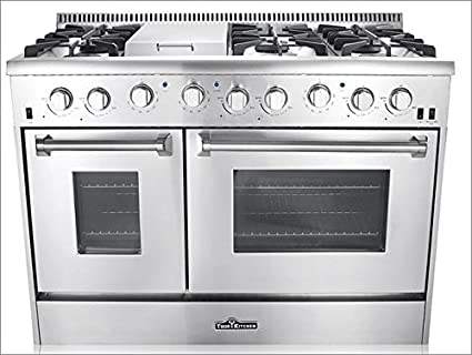 48 thor kitchen 6 burner gas range with double oven grill griddle nxr 36 in stainless steel professional reviews